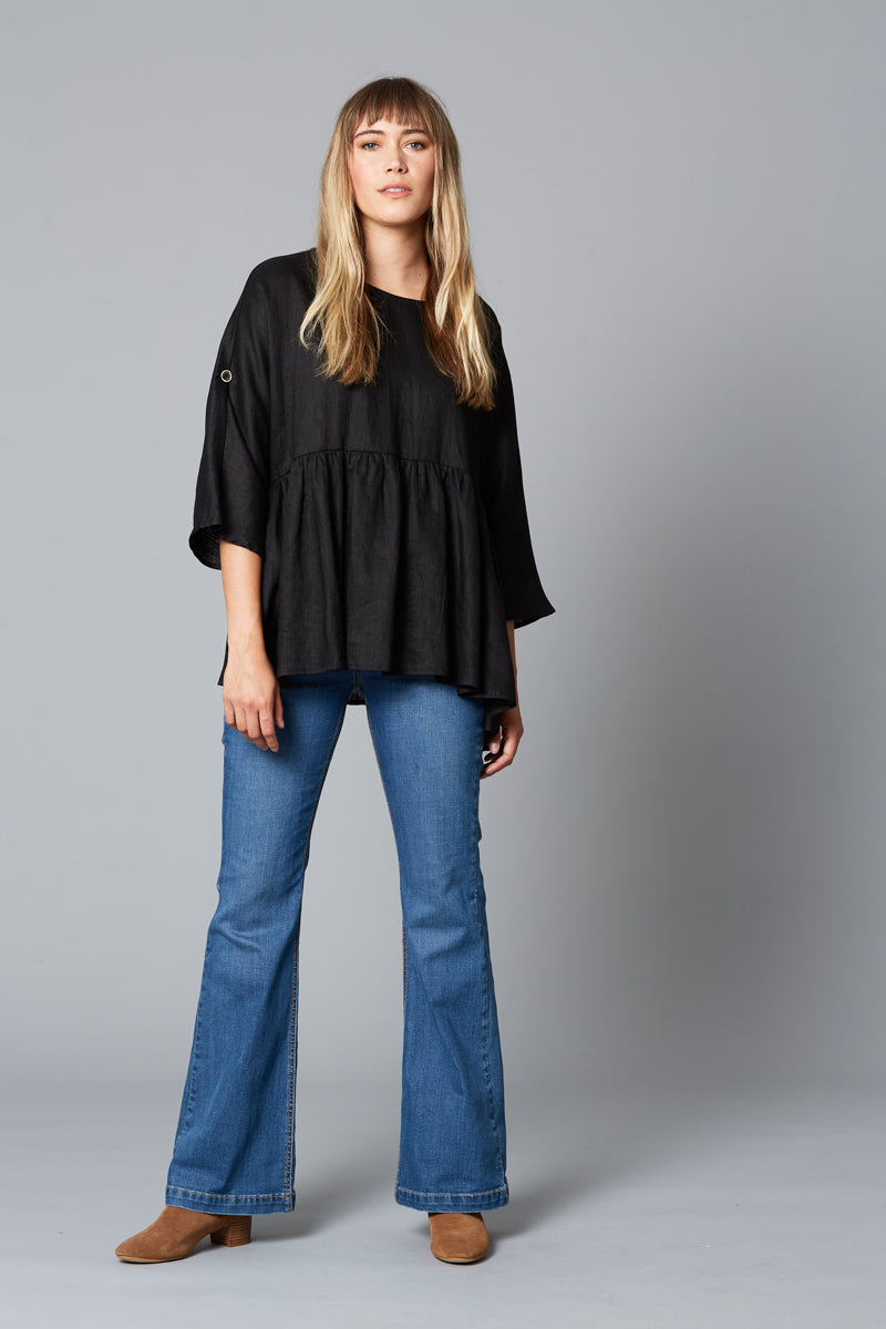 Eve Top - Black - Isle of Mine Clothing - Top - S/S Linen Oversize