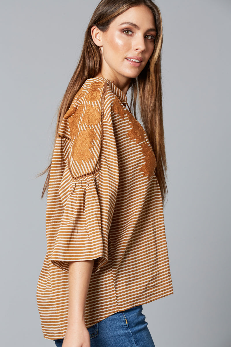 Wanderlust Top - Caramel - Isle of Mine Clothing - Top 3/4 Sleeve