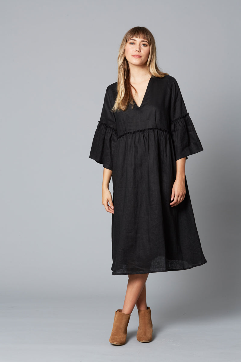 Eve Dress - Black - Isle of Mine Clothing - Dress Linen