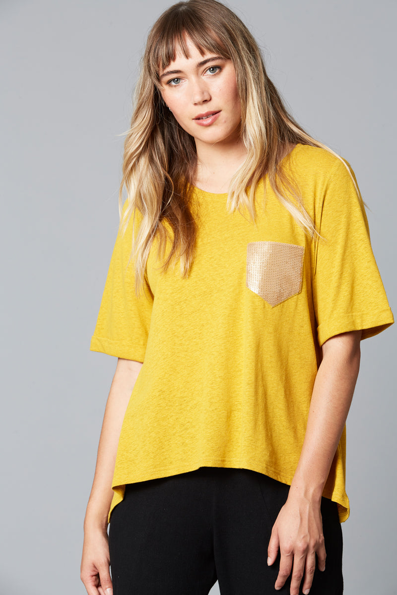 Mama Sequin TShirt - Saffron - Isle of Mine Clothing - Top S/S Linen
