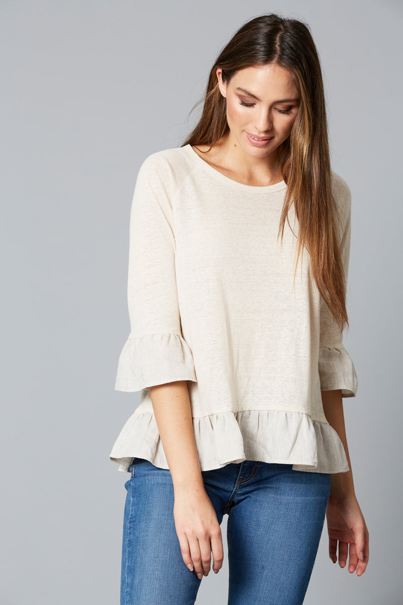 Mama Frill TShirt - Wheat - Isle of Mine Clothing - Top 3/4 Sleeve