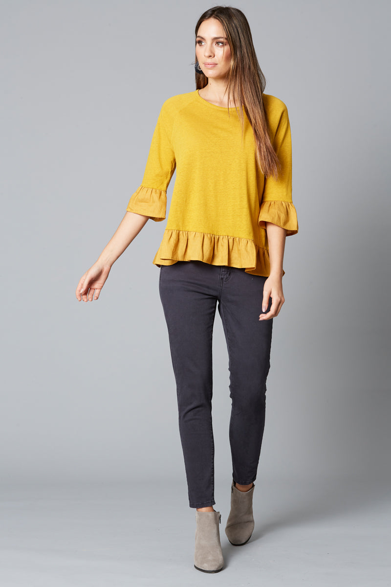 Mama Frill TShirt - Saffron - Isle of Mine Clothing - Top 3/4 Sleeve