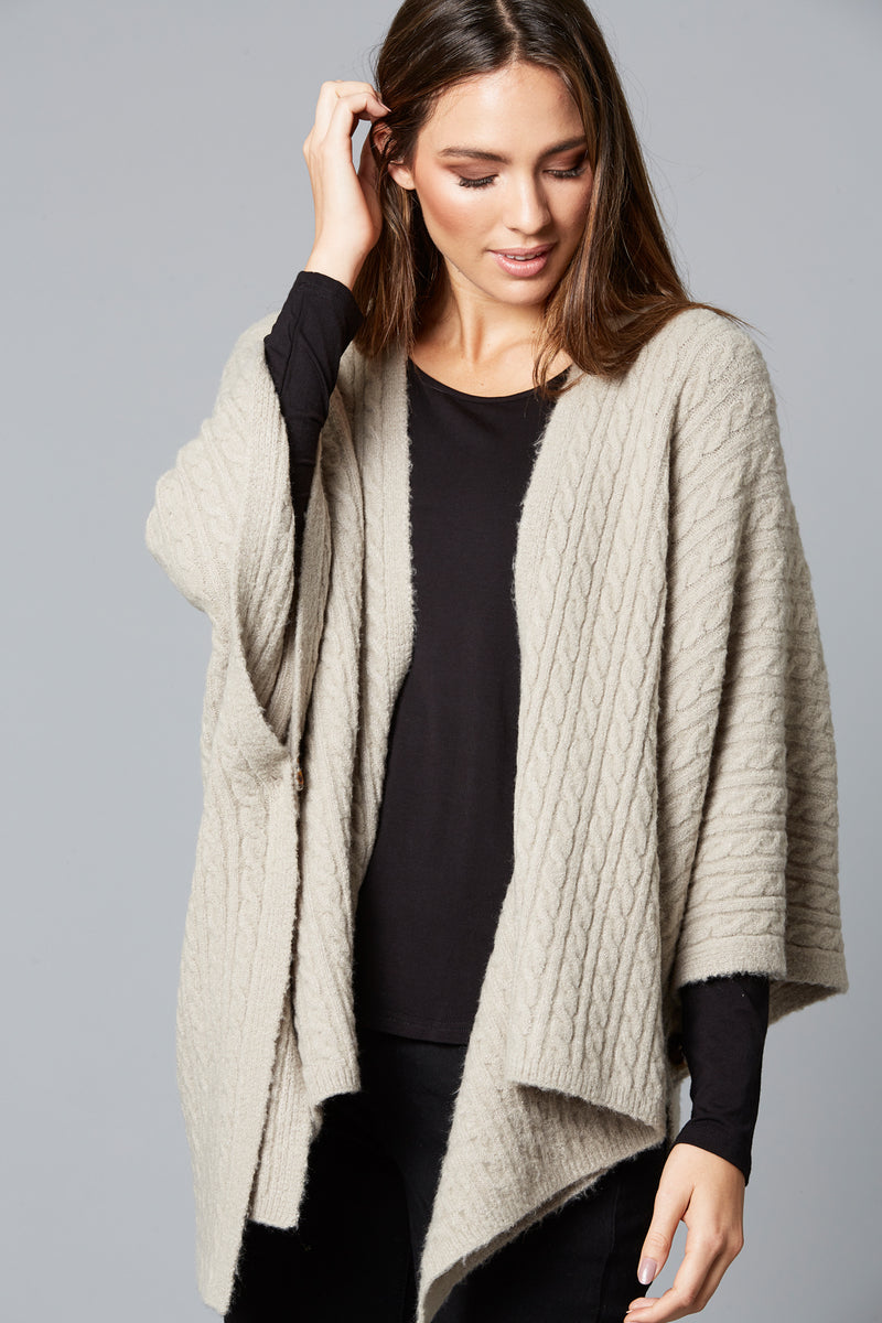 Cozy Throw - Pewter - Isle of Mine Clothing - Knit Cape