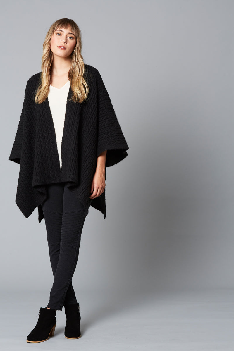 Cozy Throw - Black - Isle of Mine Clothing - Knit Cape