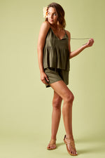 Ivy Palm Tank - Khaki - Isle of Mine Clothing - Top Sleeveless