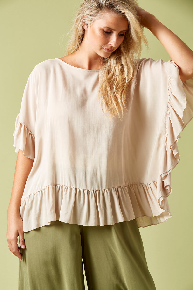 Marquis Frill Top - Sand - Isle of Mine Clothing - Top 3/4 Sleeve