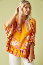 Marquis Frill Top - Calypso - Isle of Mine Clothing - Top 3/4 Sleeve