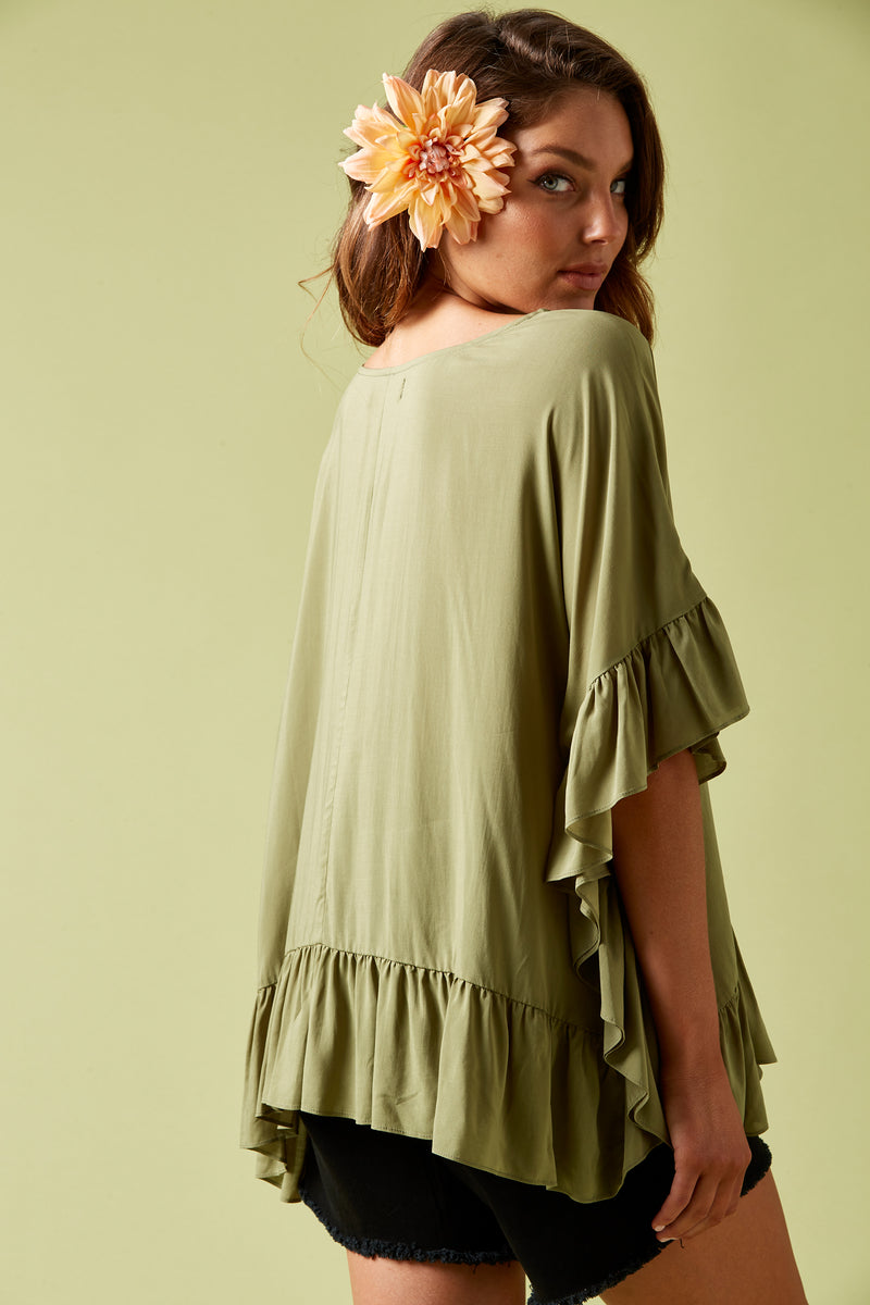Marquis Frill Top - Moss - Isle of Mine Clothing - Top 3/4 Sleeve