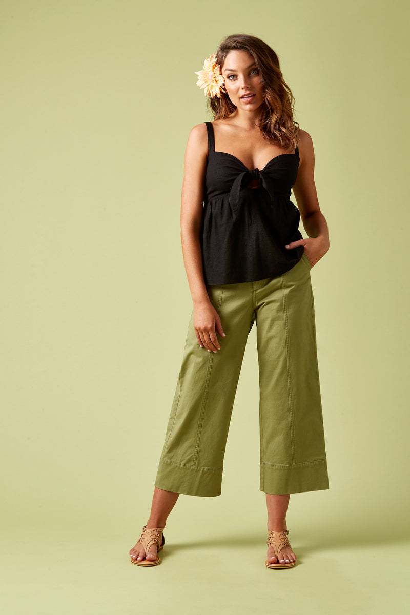 Ivy Palm Tie Top - Black - Isle of Mine Clothing - Top Sleeveless