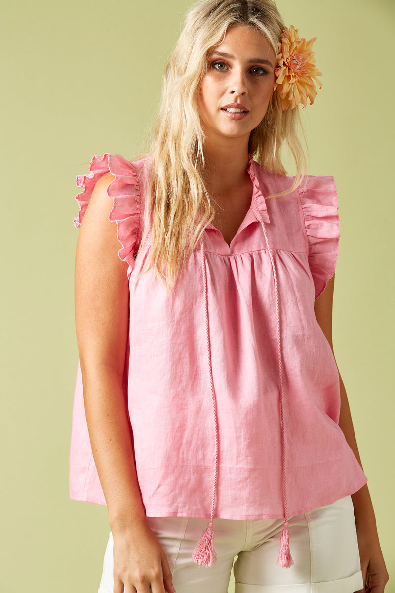 Phoenix Frill Tank - Candy - Isle of Mine Clothing - Top Sleeveless Linen