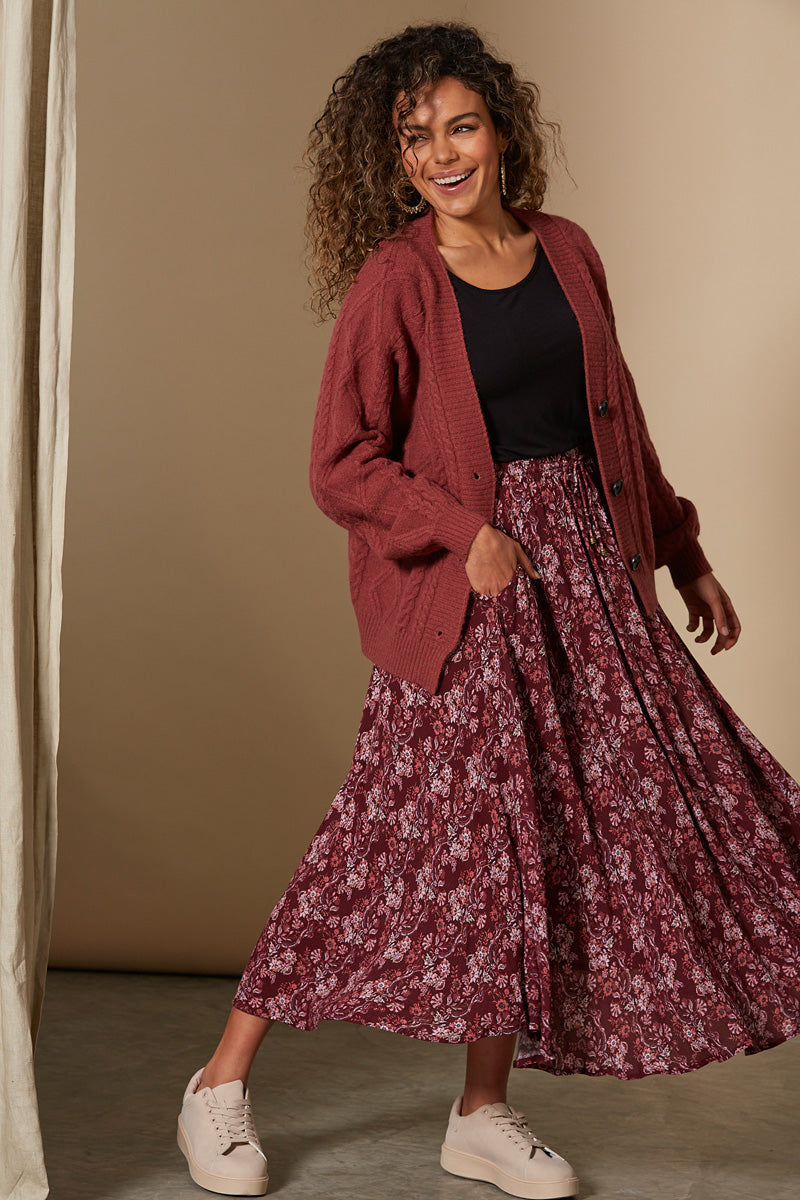 Splendour Skirt - Cherry - Isle of Mine Clothing - Skirt Maxi