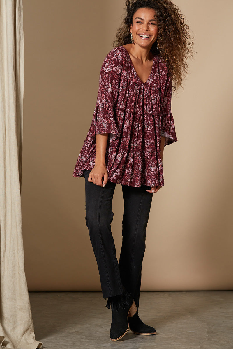 Revival Top - Cherry - Isle of Mine Clothing - Top 3/4 Sleeve