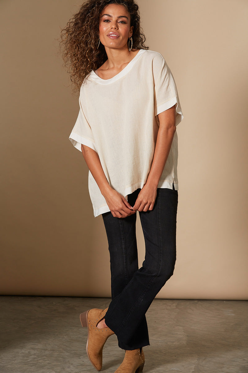 Solace Top - Bisque - Isle of Mine Clothing - Top S/S One Size Linen