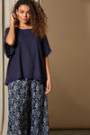 Solace Top - Indigo - Isle of Mine Clothing - Top S/S One Size Linen