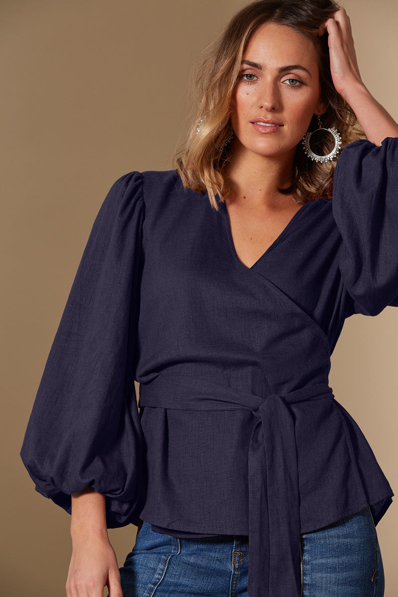 Solace Crossover Top - Indigo - Isle of Mine Clothing - Top S/S Linen
