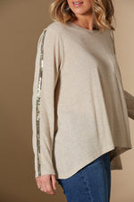 Embrace Tshirt - Flax - Isle of Mine Clothing - Top Tshirt L/S Linen