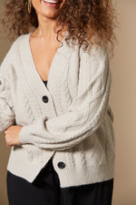 Awaken Cable Cardigan - Stone - Isle of Mine Clothing - Knit Cardigan Short