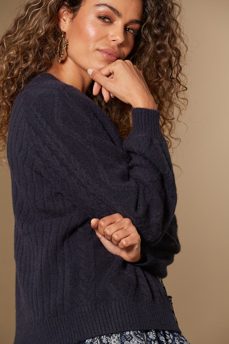 Awaken Cable Cardigan - Indigo - Isle of Mine Clothing - Knit Cardigan Short