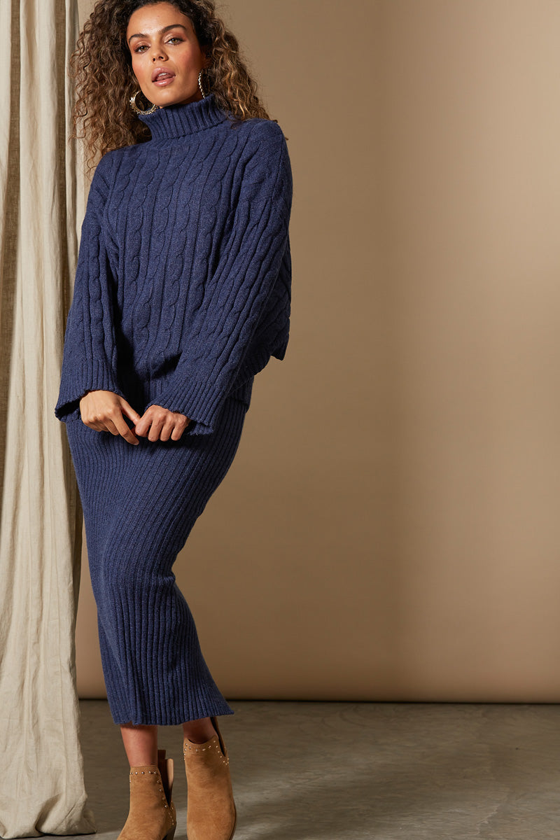 Clarity Cable Knit - Indigo - Isle of Mine Clothing - Knit Jumper