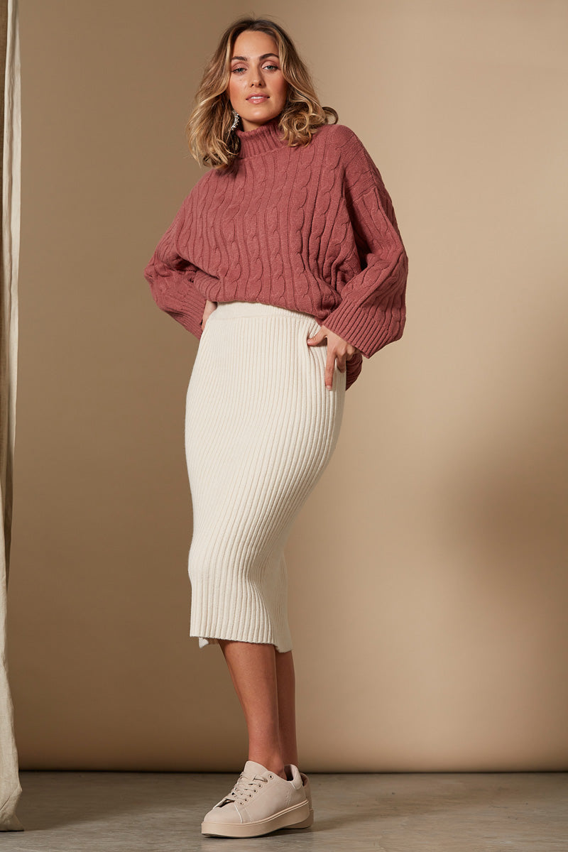 Clarity Skirt - Creme - Isle of Mine Clothing - Knit Skirt Mid