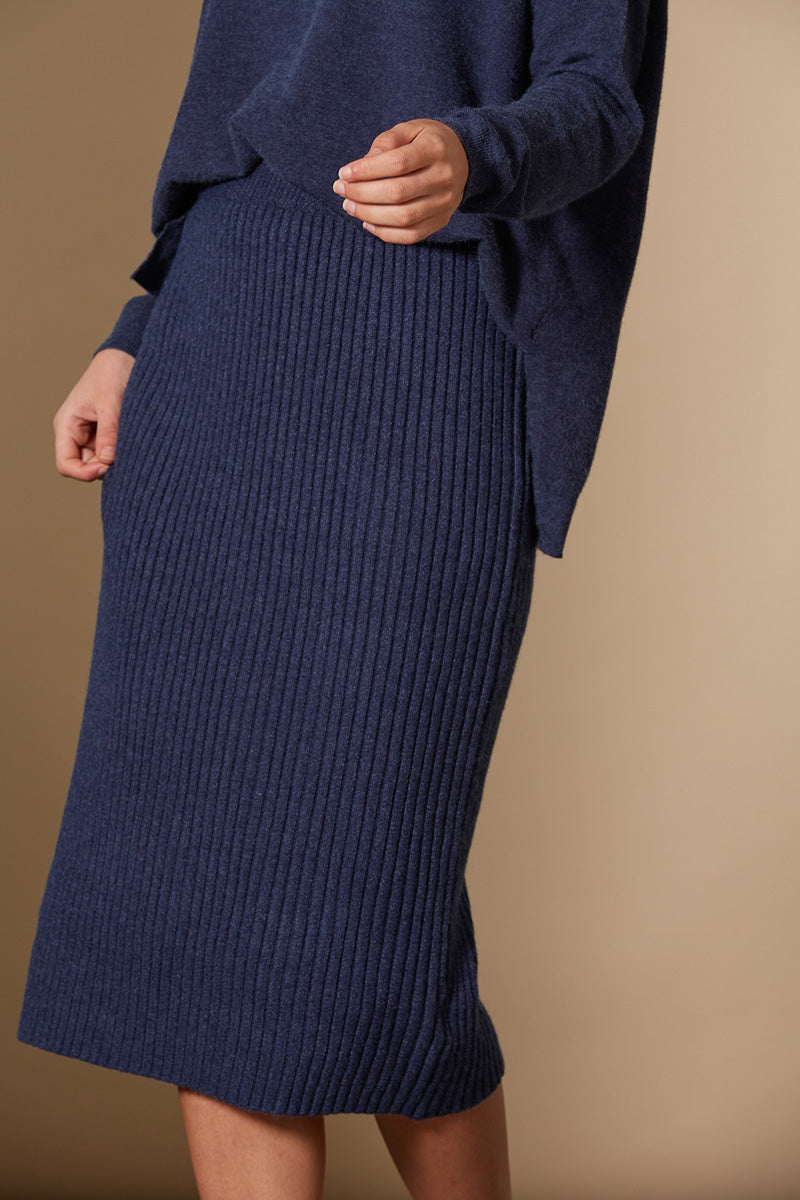 Clarity Skirt - Indigo - Isle of Mine Clothing - Knit Skirt Mid
