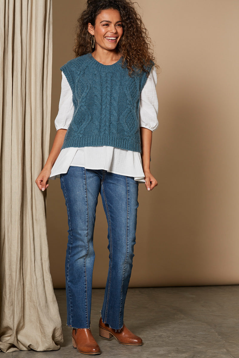 Awaken Vest - Teal - Isle of Mine Clothing - Knit Vest