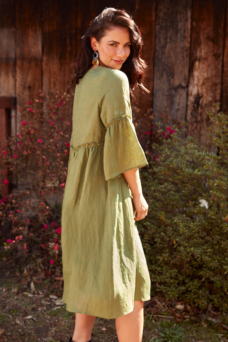 Eve Dress - Forest - Isle of Mine Clothing - Dress Linen