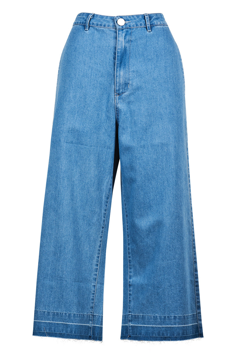 Cassis Crop Pant - Denim - Isle of Mine Clothing - Pant Crop