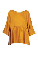 Eve Top - Saffron - Isle of Mine Clothing - Top - S/S Linen Oversize