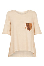 Mama Sequin TShirt - Wheat - Isle of Mine Clothing - Top S/S Linen