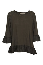 Mama Frill TShirt - Charcoal - Isle of Mine Clothing - Top 3/4 Sleeve