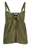 Ivy Palm Tie Top - Khaki - Isle of Mine Clothing - Top Sleeveless