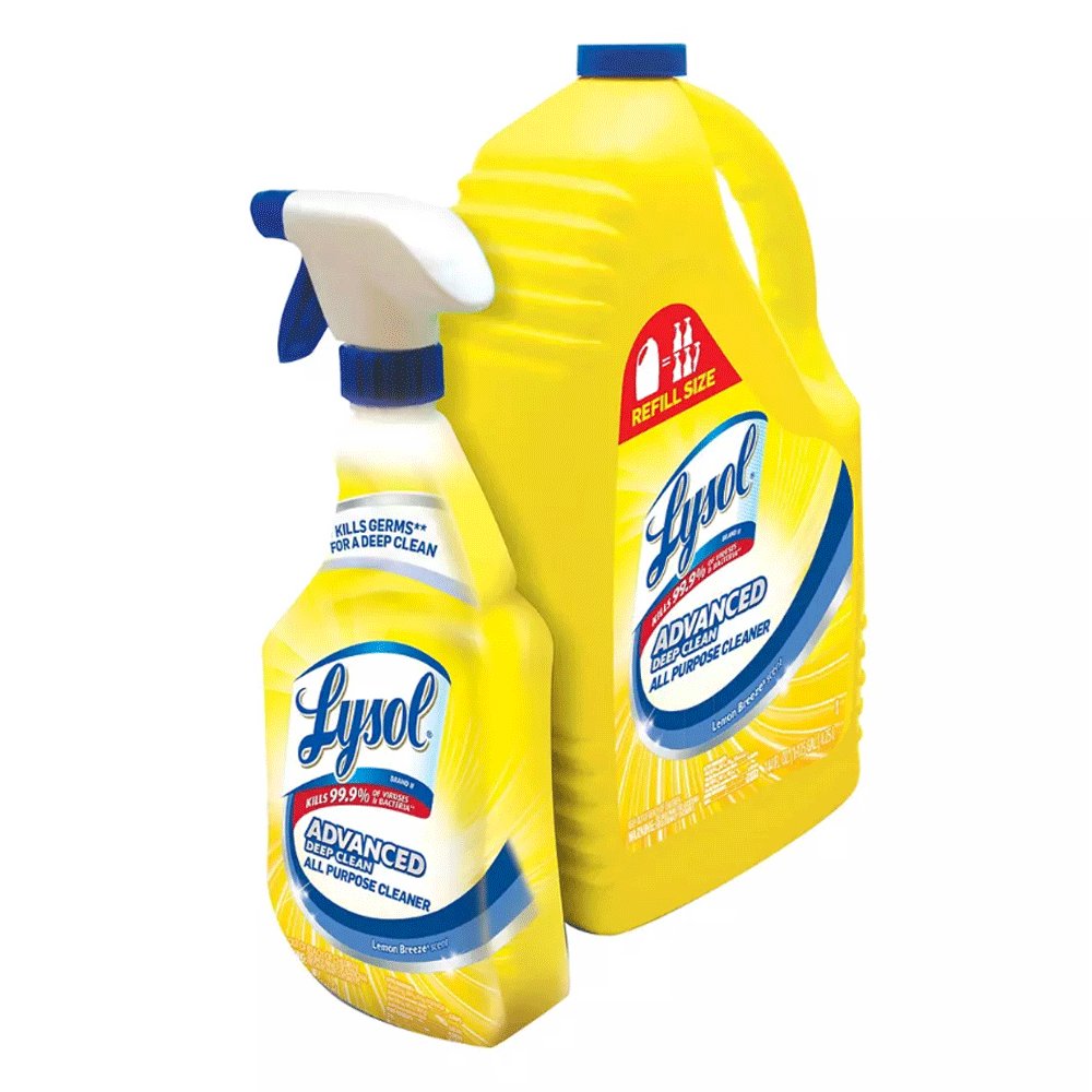 Lysol Lemon All Purpose Cleaner, 32 oz. Spray Bottle with 144 oz. Refill