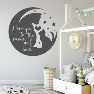 I love you to the moon and back wall decals