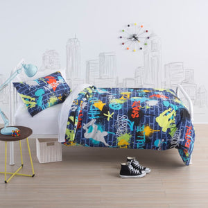 squiggles urban style duvet cover set single size - Snug as a Bug