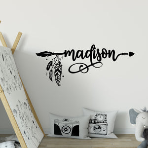 custom wall lettering - boho arrow name decals - Snug as a Bug