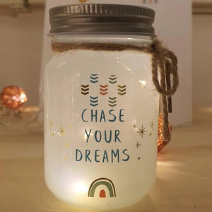 mini message sparkle jar - chase your dreams - Snug as a Bug