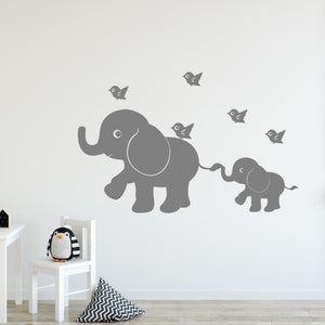 mom and baby elephant wall decals
