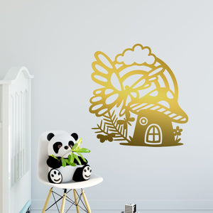 fairy house and butterflies wall decals