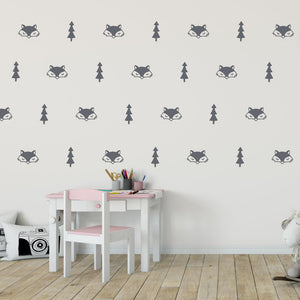 fox and tree wall decals