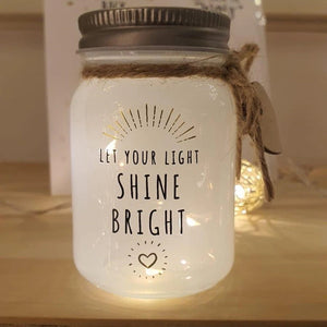 mini message sparkle jar - let your light shine bright - Snug as a Bug