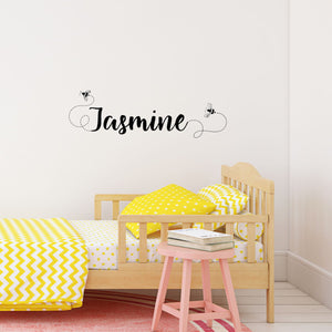 custom wall lettering - flying bees name decals - Snug as a Bug