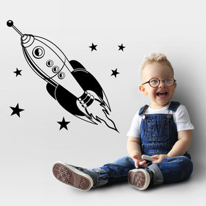rocket and stars wall decals