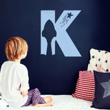 monogram wall decal single letter- space theme