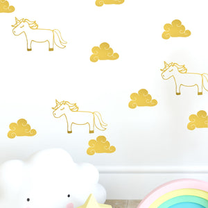 unicorn and cloud wall decals