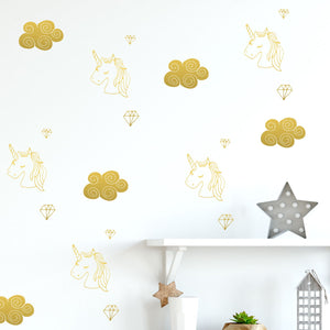 unicorn, cloud and diamond wall decals