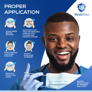 MASKWISE DISPOSABLE FACE MASKS - 50 PCS BLUE