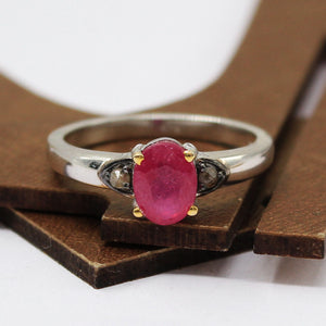Ruby Ring with Rose-Cut Diamond in 925 Sterling Silver