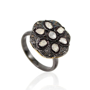 Polki With Rose-Cut Diamond Ring In 925 Sterling Silver