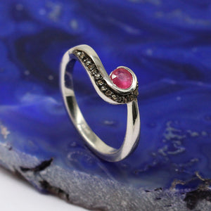 Precious Gemstone Ring With Rose-Cut Diamond In 925 Sterling Silver